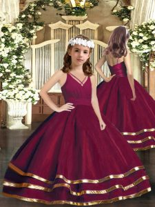 Latest Floor Length Burgundy Pageant Gowns Tulle Sleeveless Ruffled Layers
