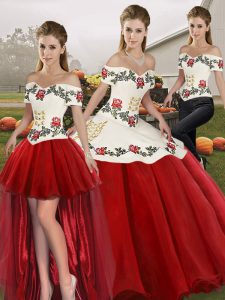 Traditional Sleeveless Organza Floor Length Lace Up Quinceanera Dresses in White And Red with Embroidery