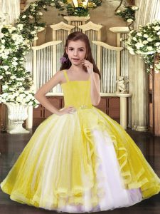 Floor Length Lace Up Pageant Gowns For Girls Yellow for Party and Sweet 16 and Wedding Party with Beading