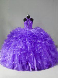 Organza Halter Top Sleeveless Brush Train Zipper Beading and Ruffles Vestidos de Quinceanera in Lavender