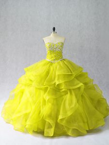 Spectacular Yellow Green Organza Lace Up Sweetheart Sleeveless Floor Length Quince Ball Gowns Beading and Ruffles