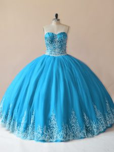 Luxurious Baby Blue Lace Up Quinceanera Dress Embroidery Sleeveless Floor Length