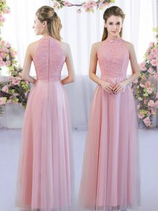 Clearance Pink Empire High-neck Sleeveless Tulle Floor Length Zipper Lace Court Dresses for Sweet 16