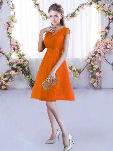 Eye-catching Orange Red V-neck Lace Up Lace Dama Dress Cap Sleeves