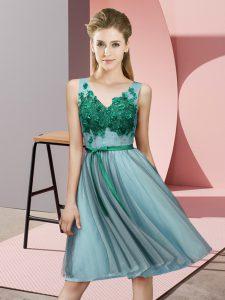 Aqua Blue Sleeveless Appliques Knee Length Damas Dress