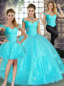 Fashionable Tulle Sleeveless Floor Length Sweet 16 Dresses and Beading and Appliques