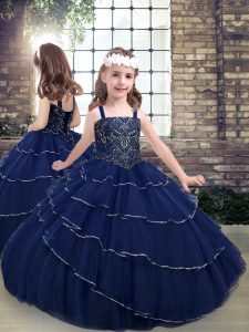 Ideal Navy Blue Little Girl Pageant Gowns Party and Military Ball and Wedding Party with Beading Straps Sleeveless Lace Up