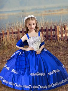 Smart Straps Sleeveless Little Girls Pageant Dress Floor Length Beading and Embroidery Royal Blue Satin