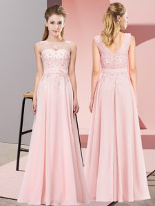Chiffon Scoop Sleeveless Zipper Beading and Appliques Quinceanera Dama Dress in Baby Pink