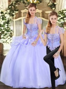 Classical Organza Strapless Sleeveless Lace Up Beading and Appliques Sweet 16 Dresses in Lavender