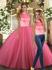 Exceptional Coral Red Sleeveless Beading Floor Length Vestidos de Quinceanera