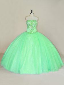 Green Sleeveless Beading and Sequins Floor Length 15th Birthday Dress