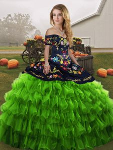 Green Ball Gowns Off The Shoulder Sleeveless Organza Floor Length Lace Up Embroidery and Ruffled Layers Ball Gown Prom Dress