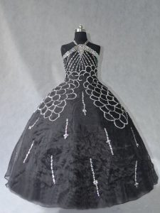 New Arrival Black 15th Birthday Dress Sweet 16 and Quinceanera with Beading Halter Top Sleeveless Lace Up