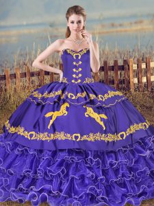 Ideal Purple Sleeveless Organza Brush Train Lace Up 15 Quinceanera Dress for Sweet 16 and Quinceanera