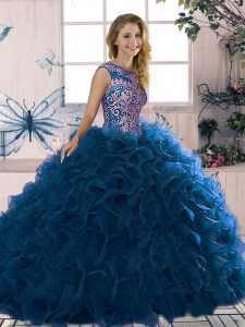 Edgy Organza Scoop Sleeveless Lace Up Beading and Ruffles Vestidos de Quinceanera in Royal Blue