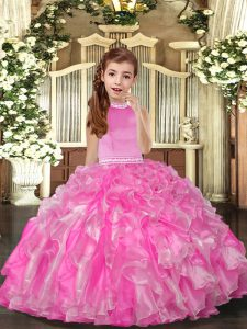 Rose Pink Kids Formal Wear Party and Sweet 16 and Wedding Party with Beading and Ruffles High-neck Sleeveless Backless