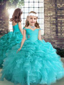 Aqua Blue Side Zipper Little Girls Pageant Gowns Beading and Ruffles Sleeveless Floor Length