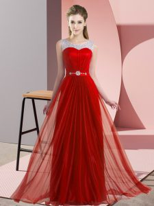 Vintage Scoop Sleeveless Lace Up Quinceanera Court Dresses Red Chiffon