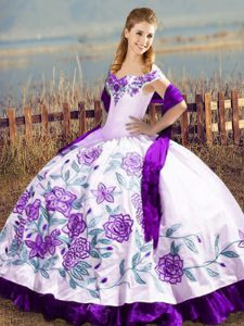 Eye-catching Satin Off The Shoulder Sleeveless Lace Up Embroidery and Ruffles Vestidos de Quinceanera in White And Purple