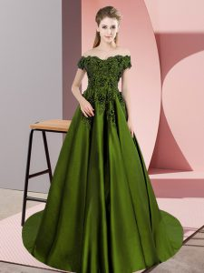 Elegant Sleeveless Floor Length Lace Zipper Quinceanera Gown with Olive Green