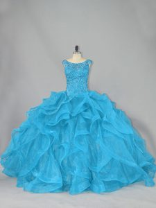 Beauteous Lace Up Quinceanera Dresses Aqua Blue for Sweet 16 and Quinceanera with Beading and Ruffles Brush Train