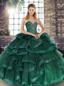Floor Length Peacock Green Quinceanera Dress Tulle Sleeveless Beading and Ruffles