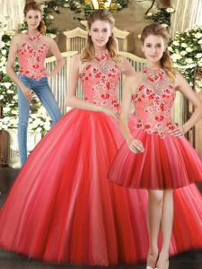 Red Quinceanera Gowns Sweet 16 and Quinceanera with Embroidery Halter Top Sleeveless Lace Up