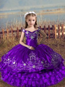Fancy Purple Sleeveless Embroidery and Ruffled Layers Floor Length Child Pageant Dress