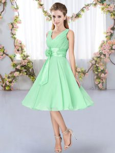 Apple Green Lace Up Quinceanera Dama Dress Hand Made Flower Sleeveless Knee Length