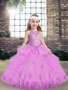 Extravagant Scoop Sleeveless Lace Up Little Girl Pageant Gowns Lilac Tulle