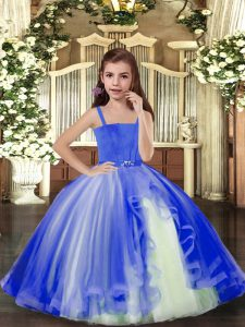 Amazing Tulle Straps Sleeveless Lace Up Beading Glitz Pageant Dress in Blue