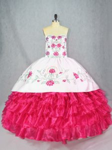 Fashionable Ball Gowns 15 Quinceanera Dress Hot Pink Sweetheart Satin and Organza Sleeveless Lace Up