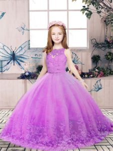 Lace and Appliques Kids Pageant Dress Lilac Backless Sleeveless Floor Length