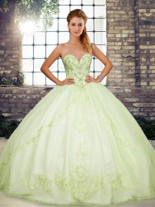 Yellow Green Sleeveless Floor Length Beading and Embroidery Lace Up Quinceanera Gown