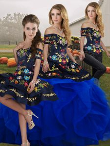 Off The Shoulder Sleeveless Tulle Vestidos de Quinceanera Embroidery and Ruffles Lace Up