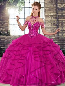 Beading and Ruffles Vestidos de Quinceanera Fuchsia Lace Up Sleeveless Floor Length