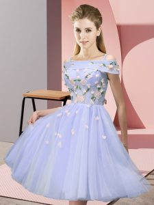 Admirable Lavender Quinceanera Court of Honor Dress Wedding Party with Appliques Off The Shoulder Short Sleeves Lace Up