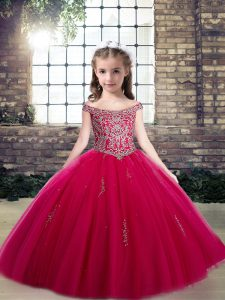 Hot Pink Tulle Lace Up Scoop Sleeveless Floor Length Little Girls Pageant Gowns Beading and Appliques