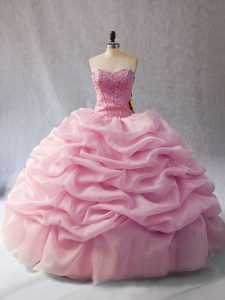 Sleeveless Floor Length Beading and Pick Ups Lace Up Sweet 16 Quinceanera Dress with Pink