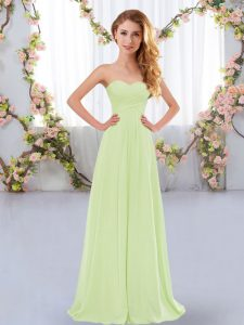 High End Sleeveless Floor Length Ruching Lace Up Court Dresses for Sweet 16 with Yellow Green