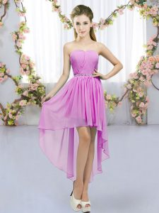 Suitable Lilac Sleeveless High Low Beading Lace Up Quinceanera Court of Honor Dress