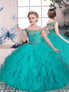 Graceful Teal Sleeveless Floor Length Beading Lace Up Little Girl Pageant Dress