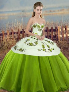 Fancy Olive Green Ball Gowns Tulle Sweetheart Sleeveless Embroidery and Bowknot Floor Length Lace Up Ball Gown Prom Dress