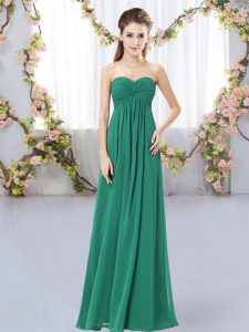 New Style Dark Green Sleeveless Ruching Floor Length Dama Dress for Quinceanera