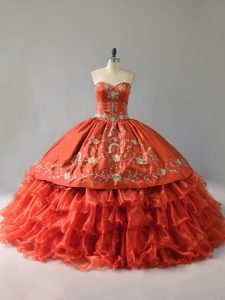 Sleeveless Lace Up Floor Length Embroidery and Ruffles Quinceanera Dress