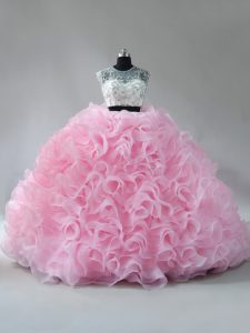 Romantic Zipper Sweet 16 Dresses Baby Pink for Sweet 16 and Quinceanera with Beading and Ruffles Brush Train
