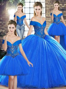 Royal Blue Organza Lace Up Off The Shoulder Sleeveless Quinceanera Gowns Brush Train Beading