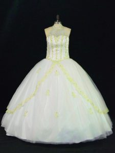 Sleeveless Tulle Floor Length Lace Up Vestidos de Quinceanera in Yellow And White with Appliques