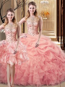 Charming Scoop Sleeveless Organza and Tulle Quinceanera Gowns Beading and Ruffles Lace Up